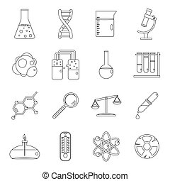 Chemical laboratory icons set, outline style - Chemical...