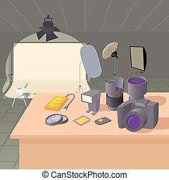 Photo studio concept, cartoon style - Photo studio concept...