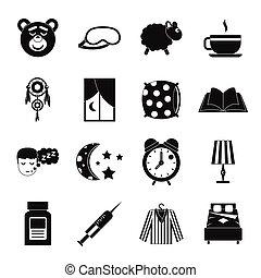 Sleep icons set, simple style - Sleep icons set. Simple...