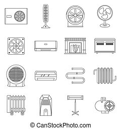 Heating cooling air icons set, outline style - Heating...