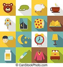 Sleep icons set, flat style - Sleep icons set. Flat...