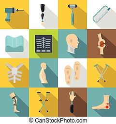 Orthopedics prosthetics icons set, flat style - Orthopedics...