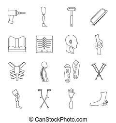 Orthopedics prosthetics icons set, outline style -...