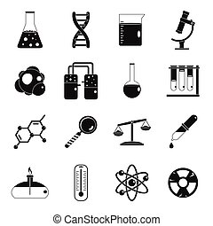 Chemical laboratory icons set, simple style - Chemical...