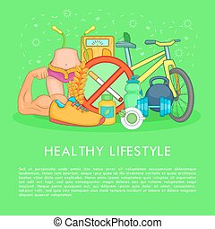 Health life items, concept, cartoon style - Health life...
