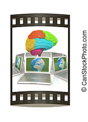 Global computer brain connected to the network. 3d render. The film strip