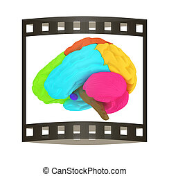 creative concept with 3d rendered colourful brain. The film strip