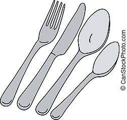 Stainless steel cutlery - Hand drawing of stainless steel...