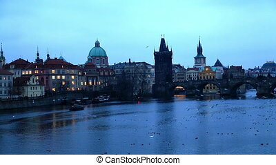 Prague cityscape at night - Night view of Prague, with the...