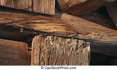 Old Wooden Beam in winter