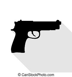 plano, estilo, Ilustración, arma de fuego, señal, negro,...