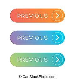 Previous Web button set vector