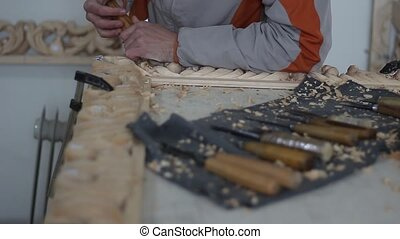 Hand-Carved Wood Ornaments, Notches on the wooden workpiece...