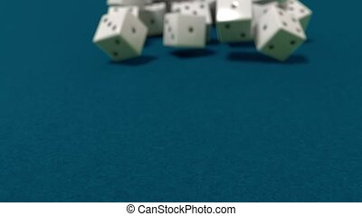 Dice rolling slow motion closeup DOF casino gambling gaming...