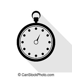Stopwatch sign illustration. Black icon with flat style shadow path.