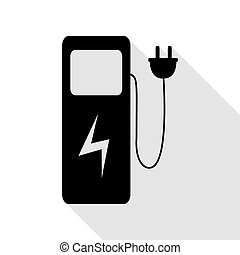 Electric car charging station sign. Black icon with flat style shadow path.