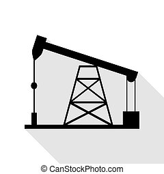 Oil drilling rig sign. Black icon with flat style shadow...