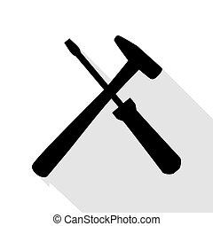 Tools sign illustration. Black icon with flat style shadow...