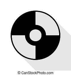 Vector CD or DVD sign. Black icon with flat style shadow...