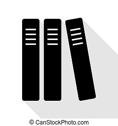 Row of binders, office folders icon. Black icon with flat...
