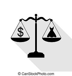 Dress and dollar symbol on scales. Black icon with flat style shadow path.