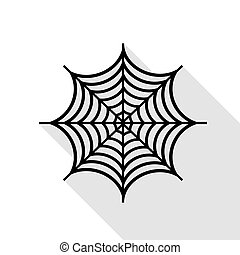 Spider on web illustration. Black icon with flat style...