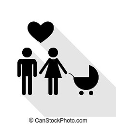 Family symbol with pram and heart. Husband and wife are kept each other`s hands. Love. Black icon with flat style shadow path.