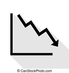 Arrow pointing downwards showing crisis. Black icon with flat style shadow path.