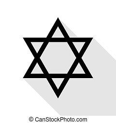 Shield Magen David Star. Symbol of Israel. Black icon with...