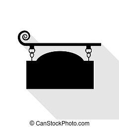 Wrought iron sign for old-fashioned design. Black icon with...