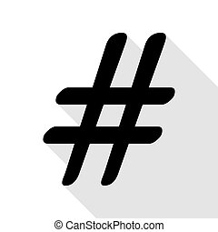 Hashtag sign illustration. Black icon with flat style shadow...