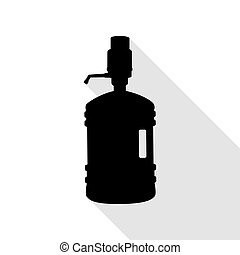 Plastic bottle silhouette with water and siphon. Black icon...