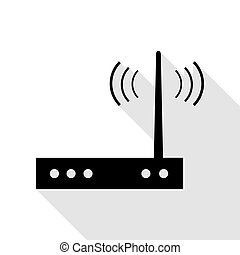 Wifi modem sign. Black icon with flat style shadow path.