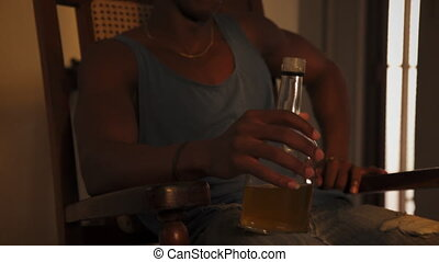 Young Black Man Drinking Alcohol Drunk Husband At Home -...