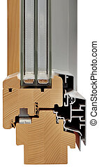 Cross Section Window - Triple Insulating Wooden Window Cross...