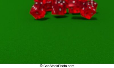 Dice rolling slow motion closeup DOF casino gambling gaming