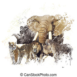 Wild Animals Watercolor - Digital Painting of  Wild Animals
