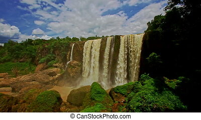 Waterfall Elephant among Tropical Forestry Hills in Vietnam...