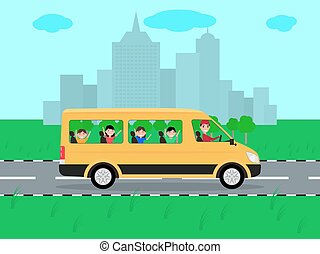 Vector children traveling by bus on travel