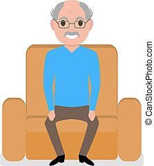 Vector cartoon grandfather sitting in a armchair - Vector...