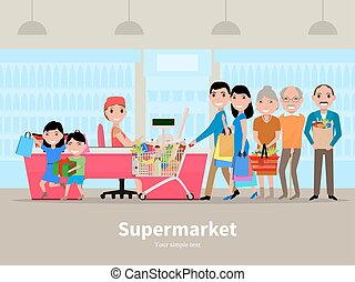 Vector cartoon people doing shopping supermarket - Vector...