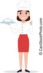 Vector illustration cartoon chef cook woman
