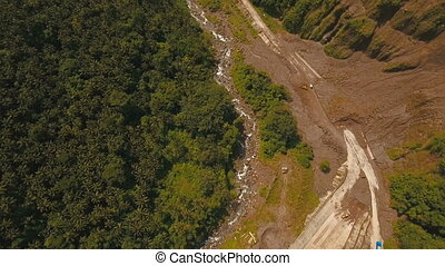 Landslide on the road in the mountains.Camiguin island...