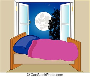 Bed in room and open window - Room with bed and open window...
