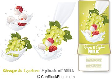 Grapes and lychee in milk splashes. Vector.