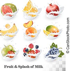 Big collection icons of fruit in a milk splash
