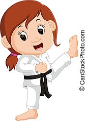 Cartoon girl practicing karate
