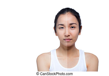 beautiful young woman on a white background, beauty concept. retouch before and after.face divided in two parts, poor condition the skin in good condition