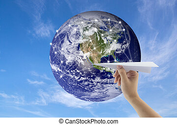 plane in hand with globe on background, Map world of flight routes airplanes network use for global travel, import,export,logistics network concept, Elements of this image furnished by NASA