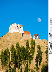 Leh Tsemo Castle Gompa Moonrise Mountaintop V - Tsemo Castle...